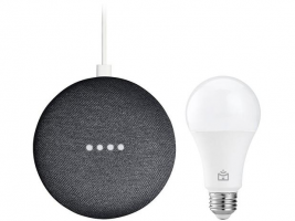 Nest Mini 2ª geração Smart Speaker com Google – Assistente Carvão + Lâmpada Inteligente Positivo – Magazine